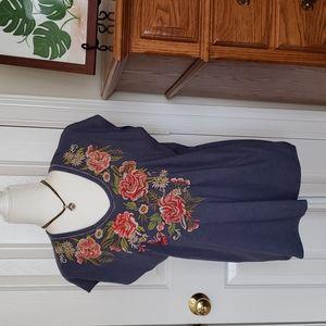 Faith & Zoe Embroidered Short Sleeve Tee Shirt Top